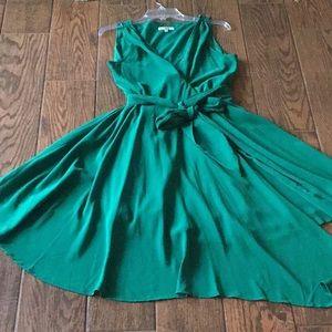 EUC BB Dakota Green Asymmetrical Wrap Dress